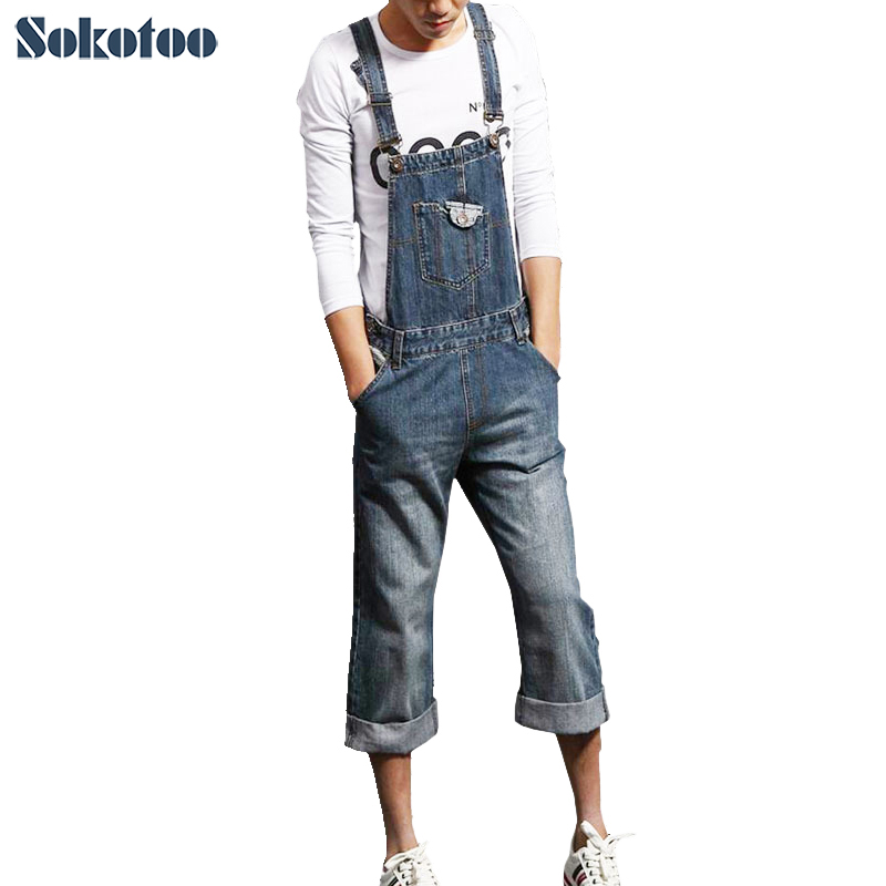 2dc186401 Sokotoo الرجال زائد حجم وزرة الدنيم الأزياء عارضة فضفاض حللا الذكور شورت  جينز كابري مريلة السراويل شحن مجاني