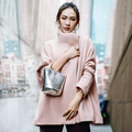 INU052 Новое Прибытие Осенью и Зимой 2016 мода негабаритных свободные длинные шерстяные пальто женщин