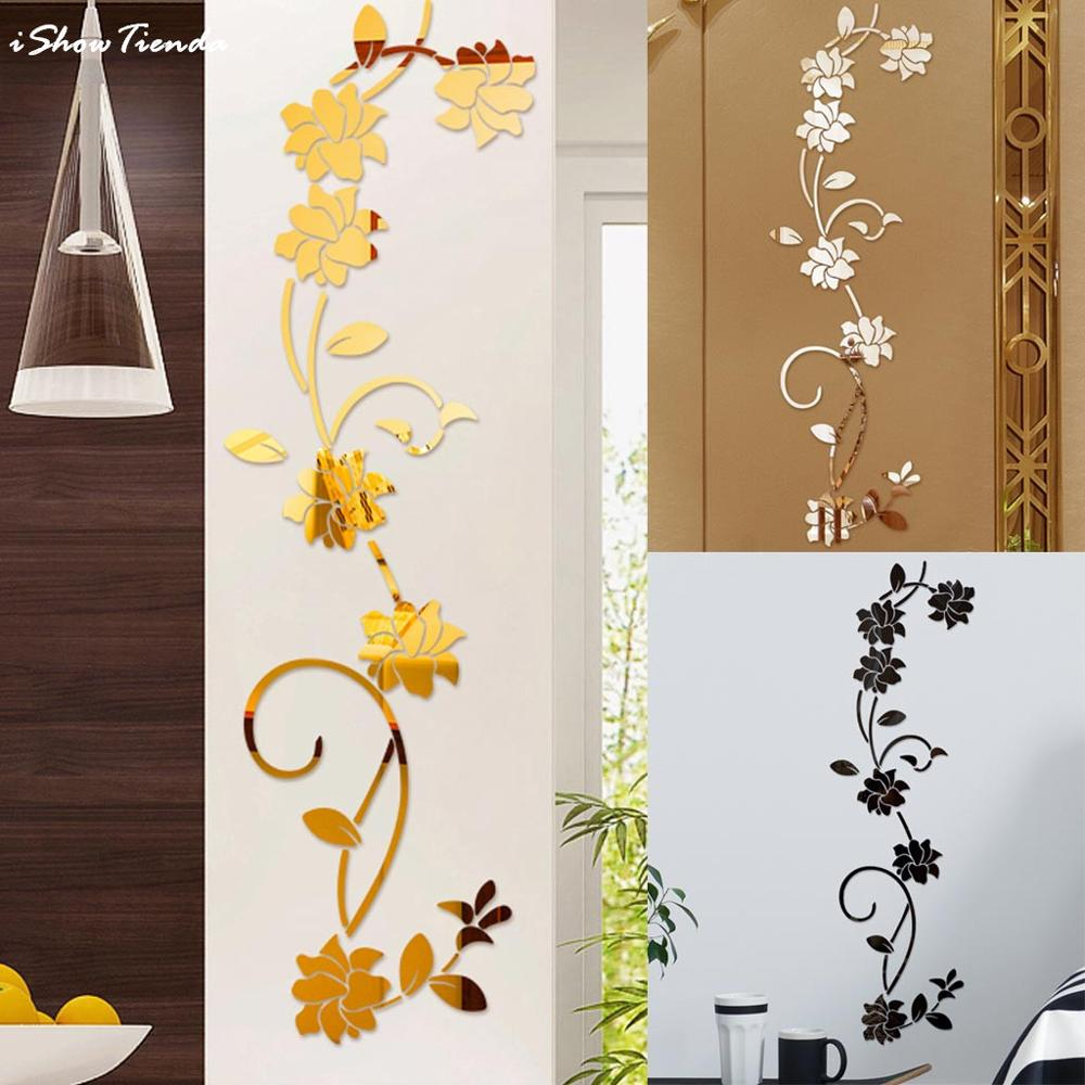 NEW 3D Diy Flower Shape Acrylic Wall Sticker Modern Stickers Decoration Stickers Muraux Mirror Wall Stickers Adesivi Murali
