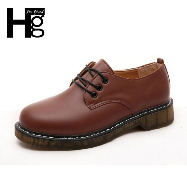 HEE GRAND British Style Women Oxfords Shoes Round Toe Lace-up Brogue Martin Boots Tide Students Shoes for Ladies XWD4464