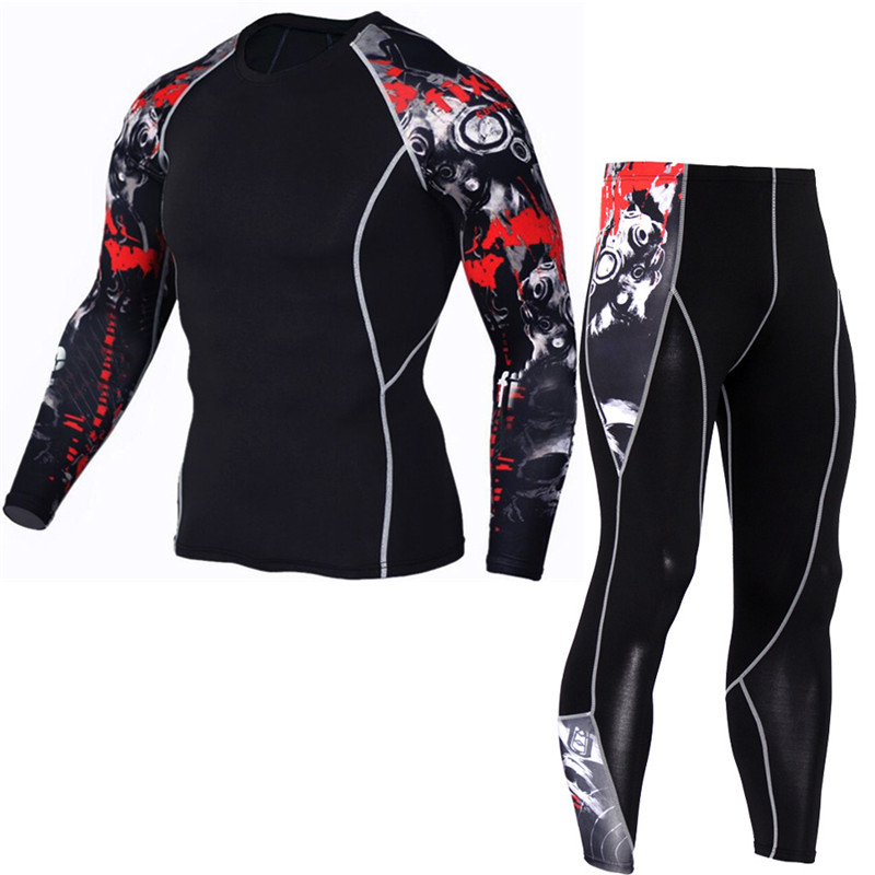 Men's Compression Run jogging Suits Clothes Sports Set Long t shirt And Pants Gym Fitness workout Tights clothing 2pcs/Sets 1