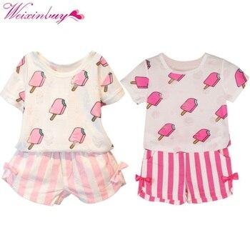 Baby Girls Clothing Set Ice Cream Printed T-shirt Tops +Striped Bow Shorts 2 pcs Sets 1-6Y conjuntos casuales para niñas