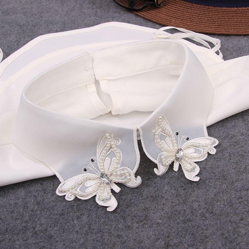 False Collar Shirt 2018 New Necktie Embroidery Pearl Diamond Female Fake Kragen Ladies Fake Collar Women Detachable Collars Lace