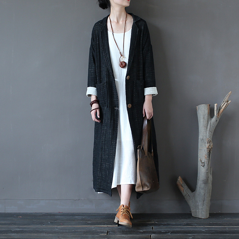 Women Retro Double thick Coarse Linen Autumn Long Trench Coat Ladies Vintage Single Breasted Loose Rough