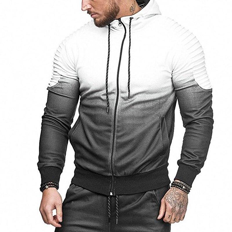 Autumn Male Hoodie Jacket Fashion Gradient Color Printing Sweatshirt Men Hooded Hip Hop 3D Hoodie Mens Zip Up Coat