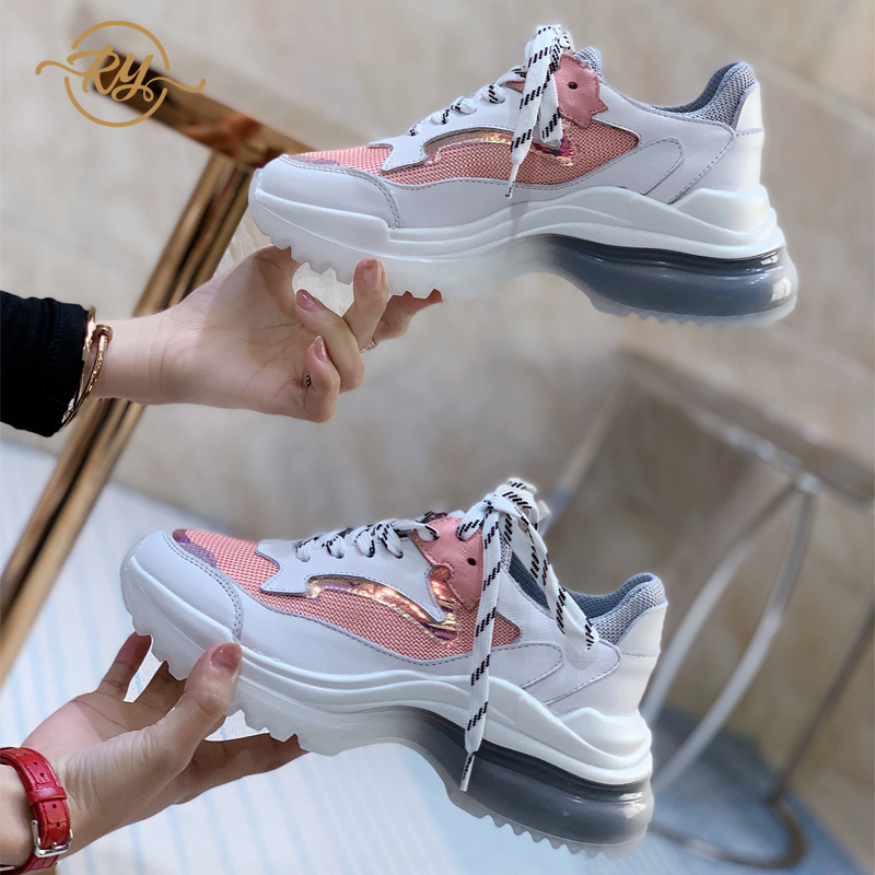 RY-RELAA femmes baskets chaussures 2018 mode blanc cassé chaussures designer baskets femmes plate-forme chaussures décontractées femmes chaussures compensées