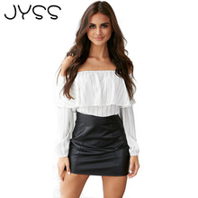 JYSS New Arrival Fashion off shoulder Ruched  flounced Blouses Summer Style Women Shirts Casual Boat Neck Loose Blouse 80775