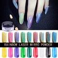 Novo 1 g/caixa Íris Shinning Espelho Prego Pó Glitter Ultrafino 3d Holográfica Unhas Pó Do Laser Gradiente Holo Unhas Pigmento