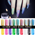 Nuevo 1 g/caja Arco Iris Brillo Espejo Ultrafino de Uñas Polvo Del Brillo 3d Holográfica Holo Polvo Láser Gradiente Uñas Uñas Pigmento
