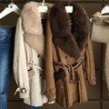Invierno de Las Mujeres de Doble cara de Piel de Cordero Real Fur Suede Kid Abrigos Natural Fox Cuello de Piel Larga Chaqueta de La Capa Para Las Mujeres 14F0813-1