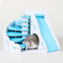 Best Sale Wooden Hamster Slide Toy Board Building Blocks Multiple Color Guinea Pig Toy Chinchilla Bed Healthy Small Pet Supplie(China)