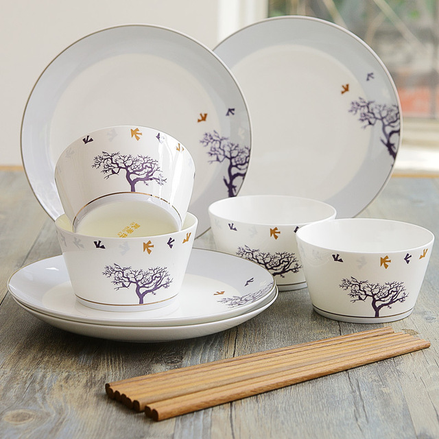 8pcs Set, Real Bone China Dinner Sets, Creative Tree Design, Porcelain  Plate And