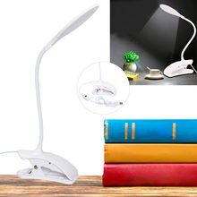 USB Bedside Clip-on Table Desk Lamp Warm White LED Flexible Piano Reading Light Table Touch 14 LED Table lamp with Clip(China)