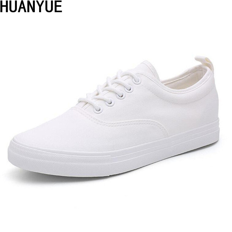 High Quality Fashion Men's Vulcanize Shoes Black White Men's Flat Shoes Spring Summer Man Lace up Canvas Shoes Zapatos Shoes