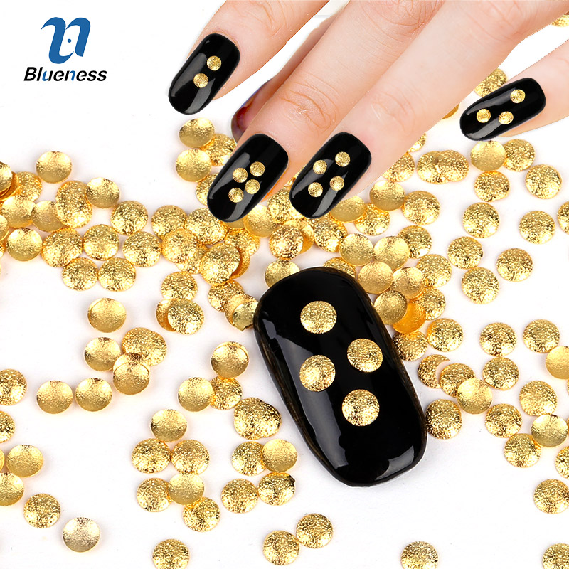 ⑦1Pack Charms Studs 3D Nail Art Decoration Gold Silver Round Convex ...