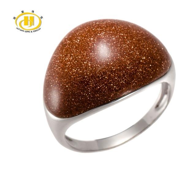 Hutang Diseño Único Oro Sand Stone Esterlina del Sólido 925 Silver Dome Anillo Para Las Mujeres Joyería Fina