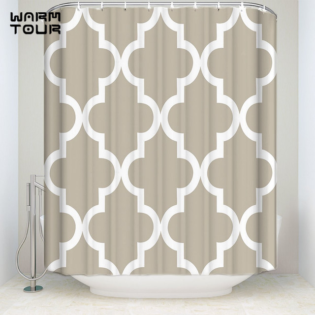 Extra Long Fabric Bath Shower Curtains Modern Khaki Geometric Lattice Welcome Mildew Resistant Bathroom Decor Sets 72 X 84