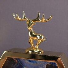 Metal Alloy Clock with Deer For Living Room TV Cabinet Desk Decoration