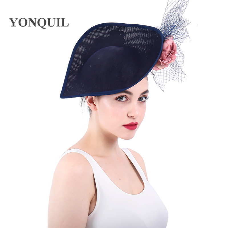 202593b45 Women Dress Fascinators Ladies Hats For Weddings Church Sinamay Fedora  White Feather Pillbox Hat With Veil Vintage Derby Hats