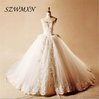 High Quality Real Photos New Fashion Tulle Ball Gown Wedding Dresses 2017 With Big Bow Off