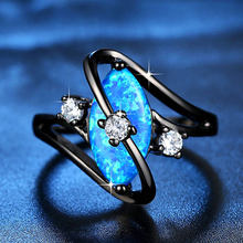 Beiver Fashion S Shape White Fire Opal Ring Black Gold Filled Marquise Cut Horse Eye Birthstone Rings For Women CZ Jewelry Gifts(China)