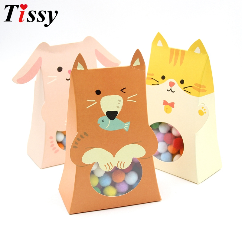 5PCS/Lot Cute Animal Paper Candy Box Kids Birthday Party Decoration Baby Shower DIY Gift Bag With Window Party Favor Supplies
