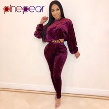ba83dfdaa9a PinePear 2019 Winter Velvet 2 Piece Tracksuit Women Long Sleeve Loose Crop  Top and Skinny Pants