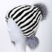 New autumn winter Parent child women girl real mink fur hat Luxurious warm genuine leather fox