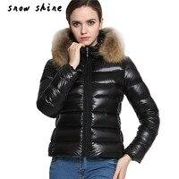 Snowshine4 #4503 Nuevo Invierno de Las Mujeres Abajo Parka de Algodón Corto Cuello de Piel Con Capucha Chaqueta Acolchada envío gratis