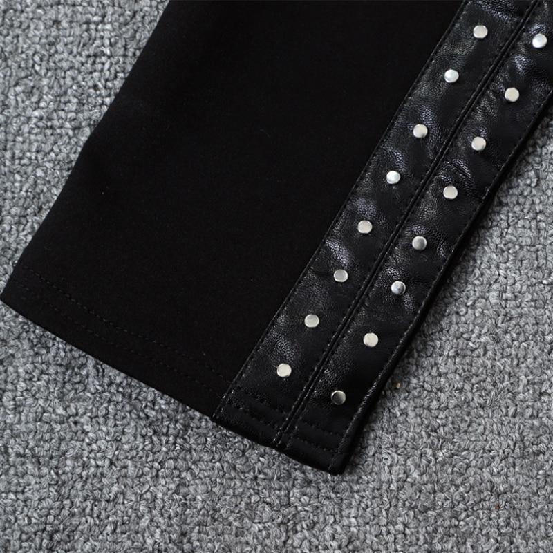 Ruique dames Sexy en cuir Leggings individualité chargement Patchwork Slim Slim Fit pantalon mode porter haut Stretch noir pantalon - 6