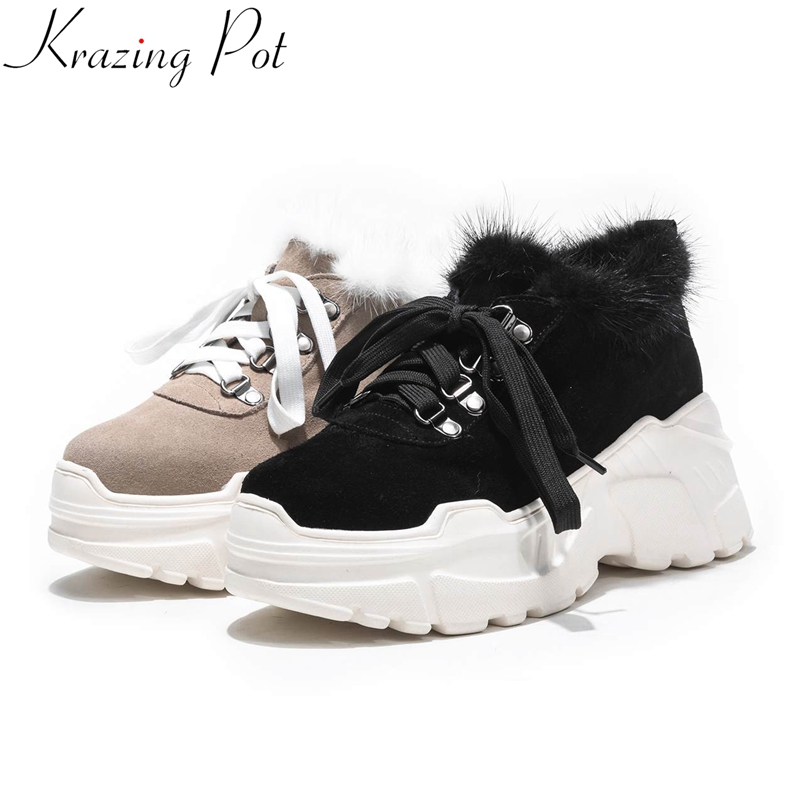 Krazing Pot 2019 Cow Sude Brand Winter Shoes Lace Up Casual Round Toe Sneaker Wedges Fur Platform Women Vulcanized Shoes LD7
