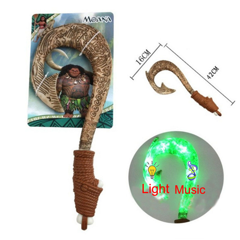 42cm Movie Moana Maui Fish Hook ABS Weapons Light Sound Saber Lightsaber Electronic Vocal Toys For Children Heihei Moana Gift