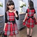 Новая Коллекция Весна Лето Принцесса ChildFemale детская WearCuhk Проверил Платье WearBaby Девушки Одежда 2016