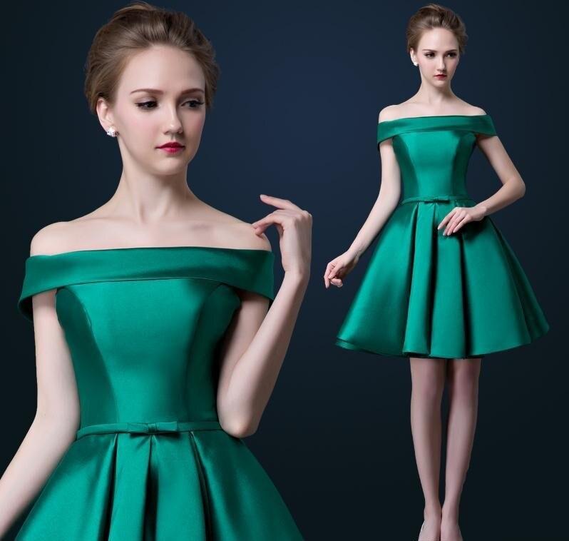 Элегантный вырез лодочка открытые плечи коктейльный платье короткий рукав зеленый и красный атлас пром ну вечеринку платье весна лето