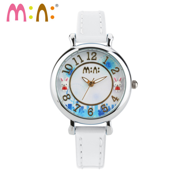 100% Handmade Clay Rabbit Children Childlike Watch Quartz  Real Leather Wristwatch Kids Lovely Analog Relojes MINI World NW7048