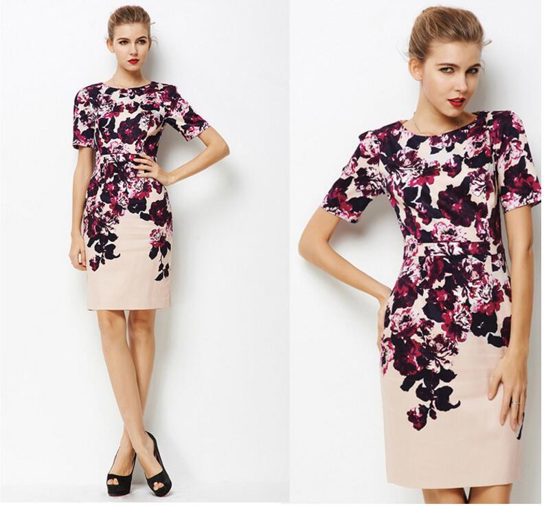 Robe d'été femmes fleur pourpre imprimé robe de grande taille bureau fête mode haute qualité vêtements de dame livraison gratuite