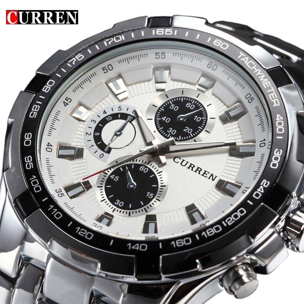 2018 Top marca de lujo completo reloj de acero hombres de negocios casual cuarzo relojes Militar reloj impermeable Relogio nueva venta