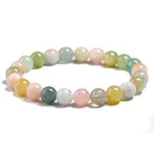 Женский браслет из морганита натурального камня с разноцветными