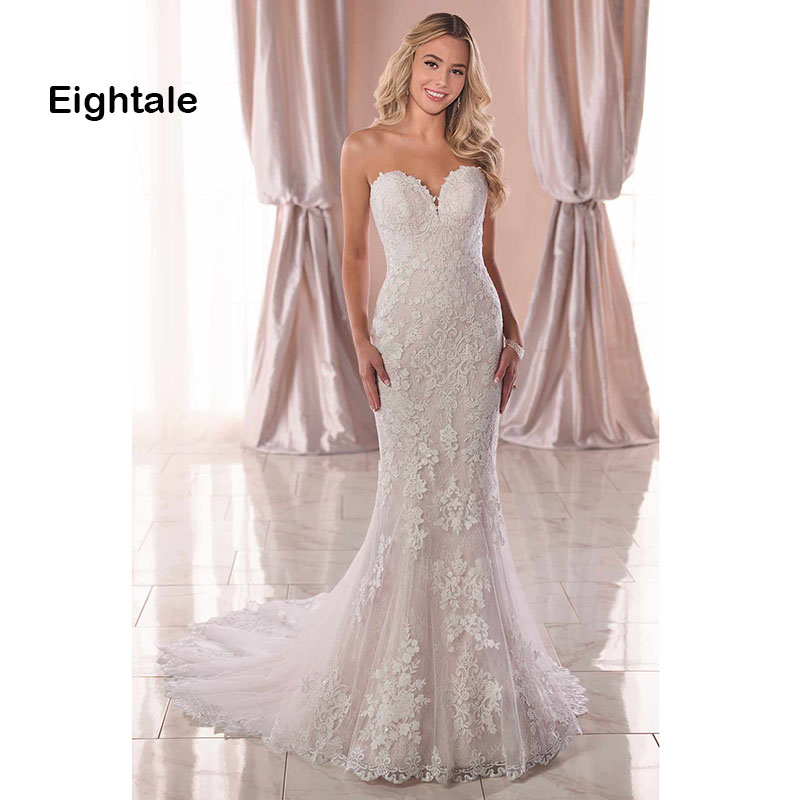 Eightale Mermaid Wedding Dresses 2019 Sweetheart Appliques Lace Wedding Gowns Backless Bride Dress vestido novia Free