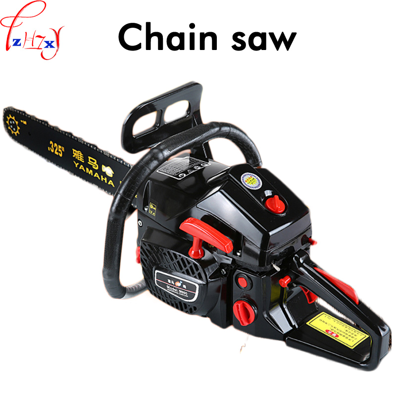 1pc High power gasoline saw hand held chain saw cutting wood machine oil logging saw machine portable garden tools 3.8KW