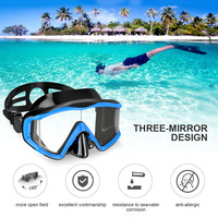 Professional Snorkeling Goggles Mask Diving Silicone Three Mirror HD Mask Dry Snorkel for Adults Diving Snorkeling Accessory