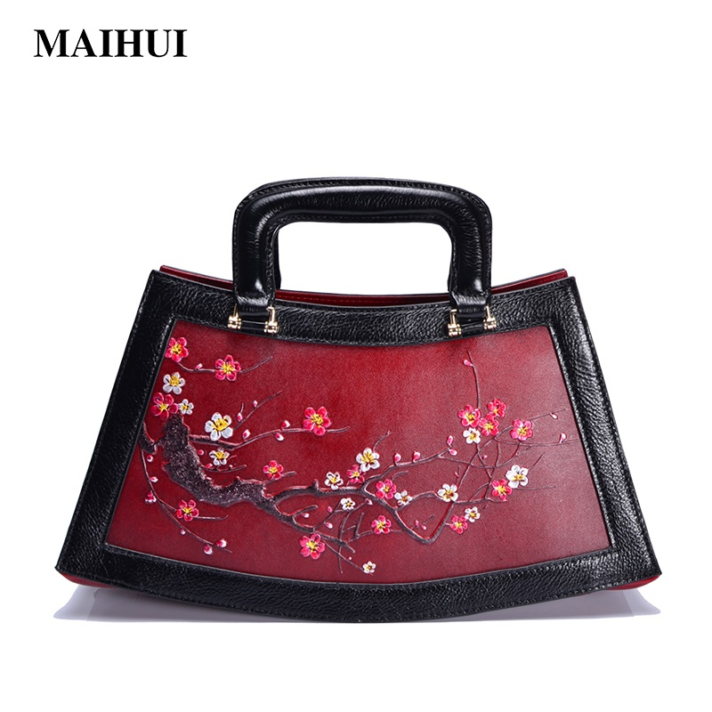 MAIHUI plum blossom embossed leather handbags women large big capacity Top-handle bags cowhide genuine leather shoulder tote bag classic black leather tote handbags embossed pu leather women bags shoulder handbags elegant