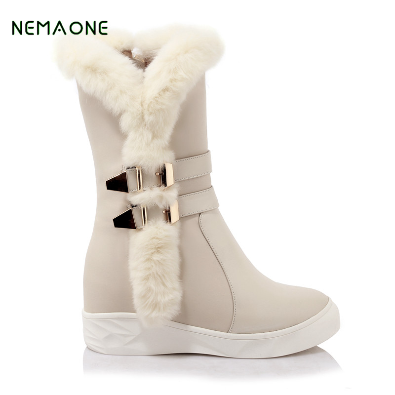 NEMAONE Australia fashion Women Genuine Sheepskin Leather Snow Boots 100% Natural Fur Snow Boots Warm Wool Winter Boots ...