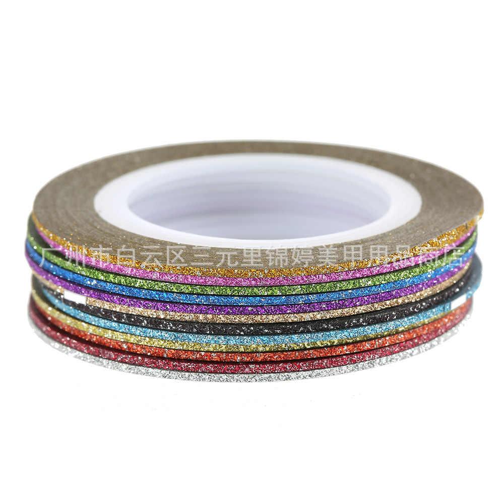 Nuevo 1mm 12mm brillo de Color de uñas rayas línea cinta etiqueta engomada de arte decoraciones consejos diy para esmalte de uñas en gel de sobresalen por