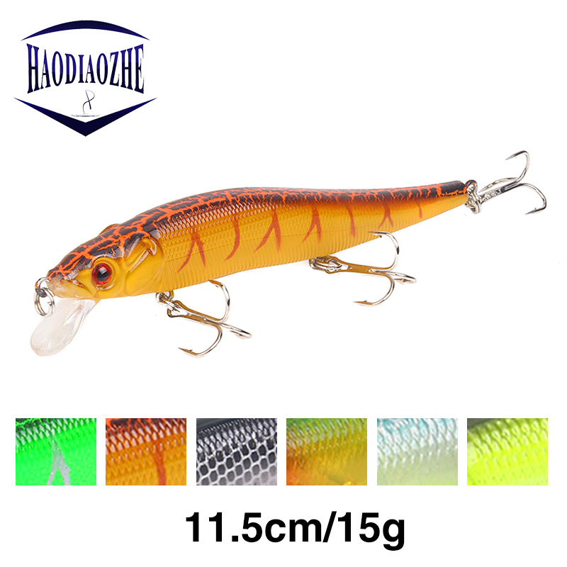 HAODIAOZHE Hot Minnows Fishing Lure With 2 Treble Hooks Japan Wobblers Floating Pesca Swimbait 3D Lifelike Eyes Carp Peche YU81