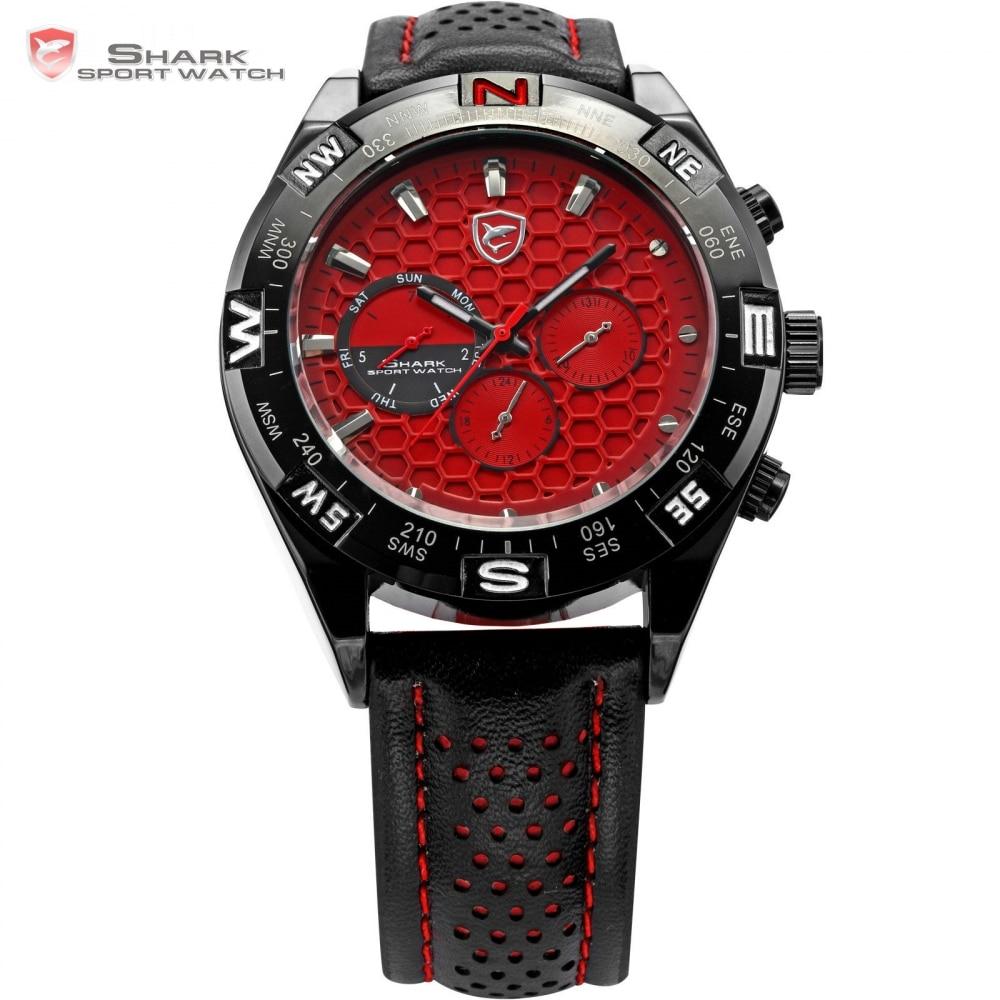 Shortfin SHARK Sport Watch Mens 6 Hands Reloj Hombre Date Day Steel Case Leather Band Quartz
