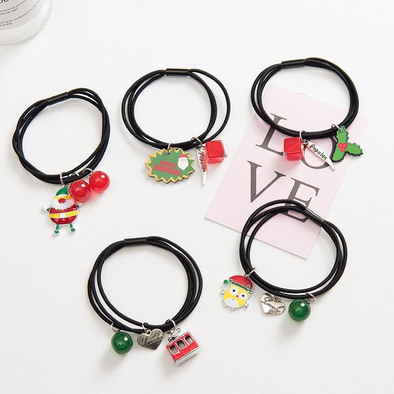 Santa Elk Hair Accessories High Elastic Rubber Hair Rope Ring Head Rope Jewelry for Women