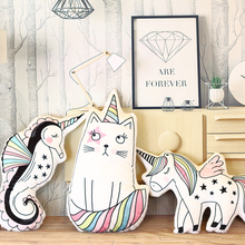 hot deal buy wholesale cartoon unicorn feather cushion cute tooth cartoon pillow anime toy baby kids sleep appease doll birthday/xmas gift