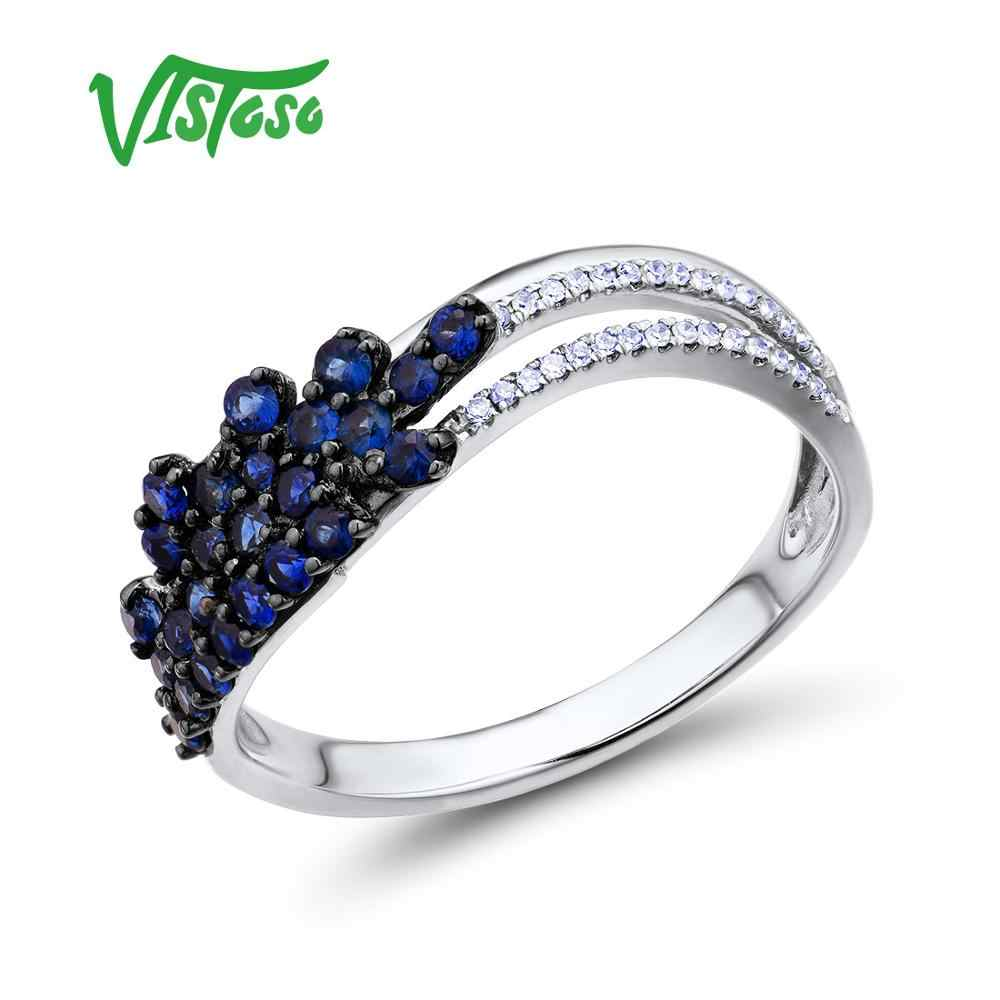 VISTOSO anillos de oro para mujeres genuino 14K 585 oro rosa blanqueamiento diamante brillante zafiro azul Natural joyería fina de lujo