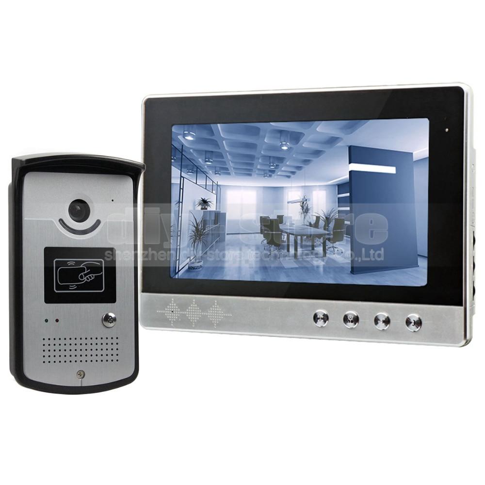DIYSECUR 10 pouce Filaire Vidéo Porte Téléphone Sonnette Home Security Intercom Système RFID Caméra LED Couleur de Vision Nocturne
